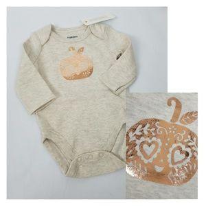 Gymboree baby girls gold foil pumpkin bodysuit NB